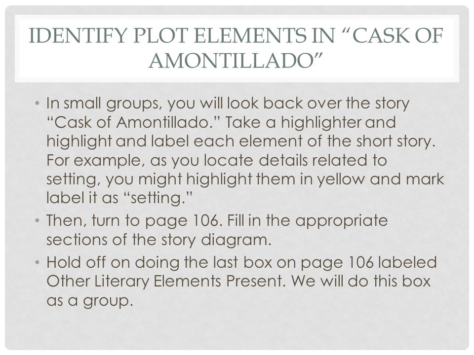the cask of amontillado story diagram fender squier jaguar wiring lesson 38 irony ppt identify plot elements in