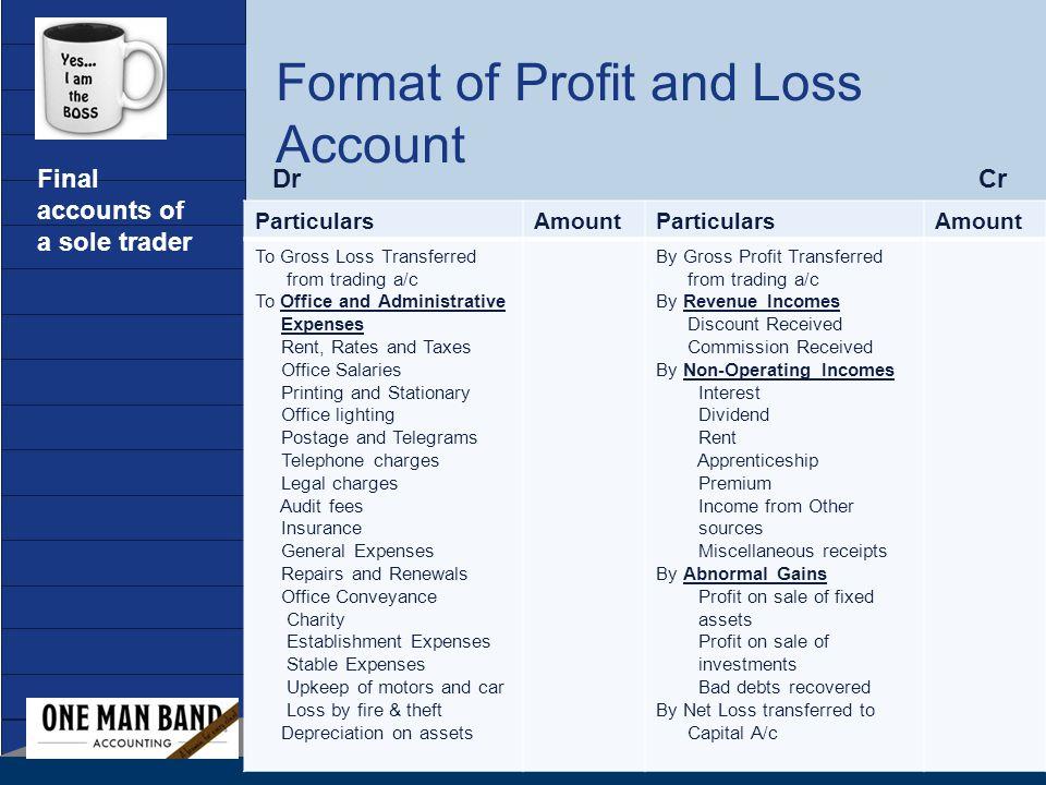 profit loss sheet