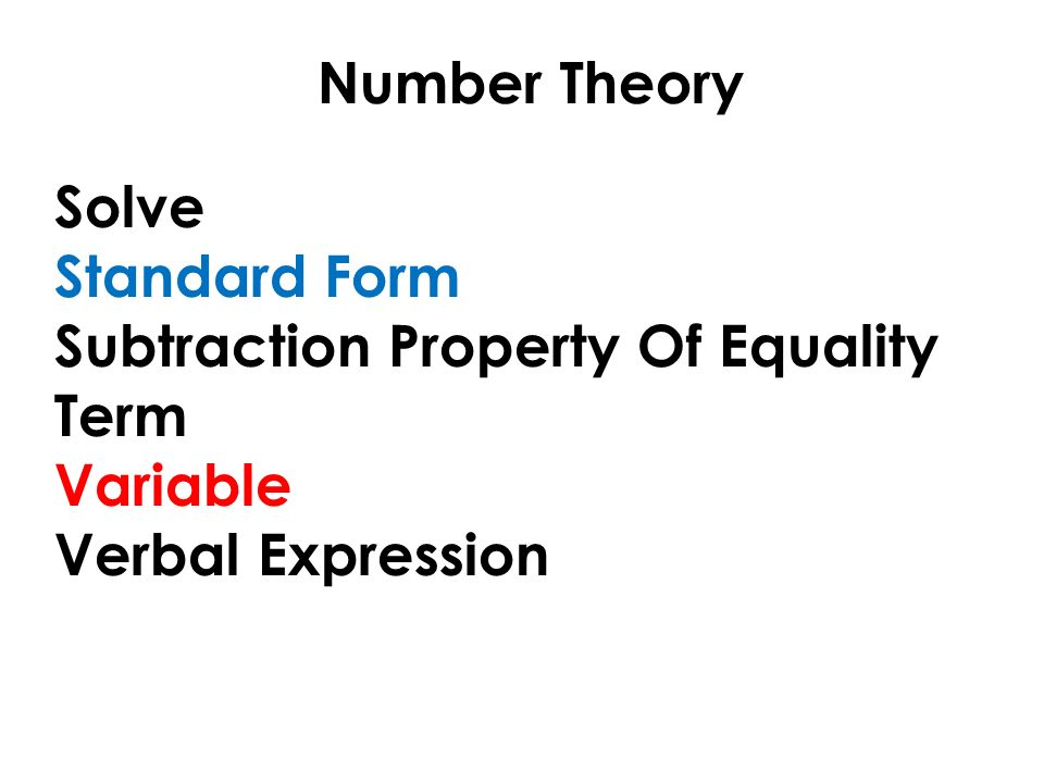 Number Theory Lesson 15 Variables and Algebraic