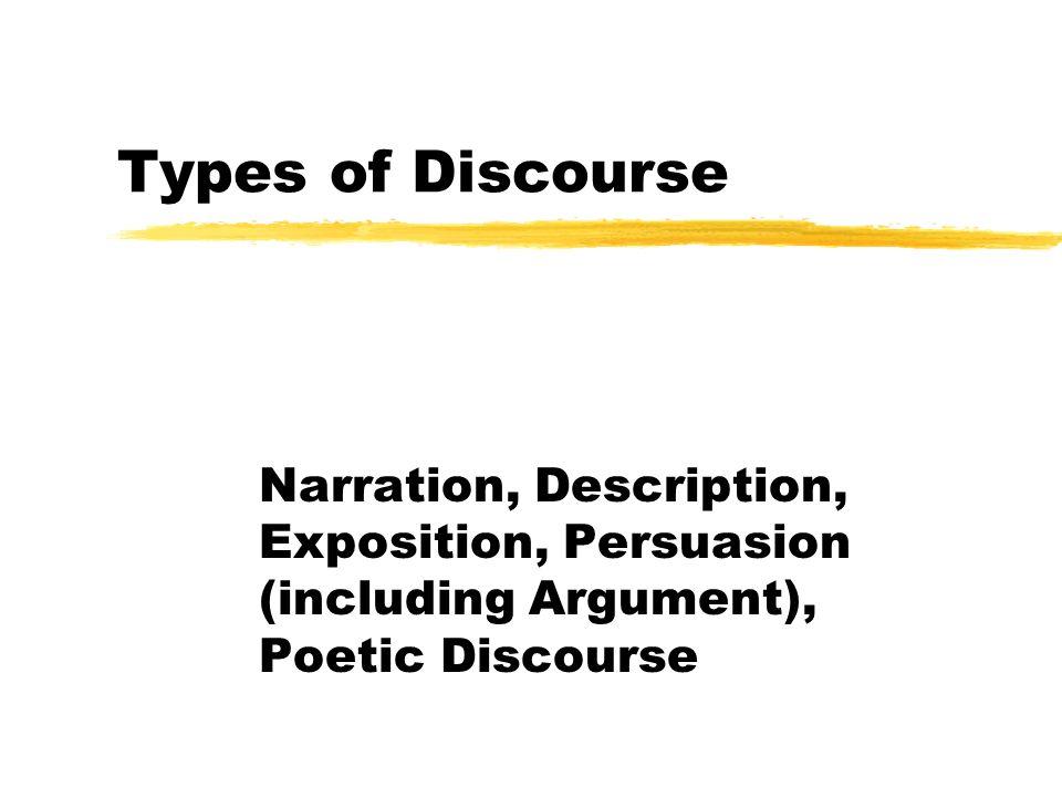 Types of Discourse Narration, Description, Exposition