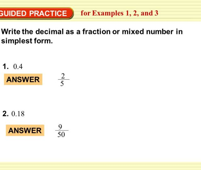 Guided Practice For Examples 1  Write The Decimal As A