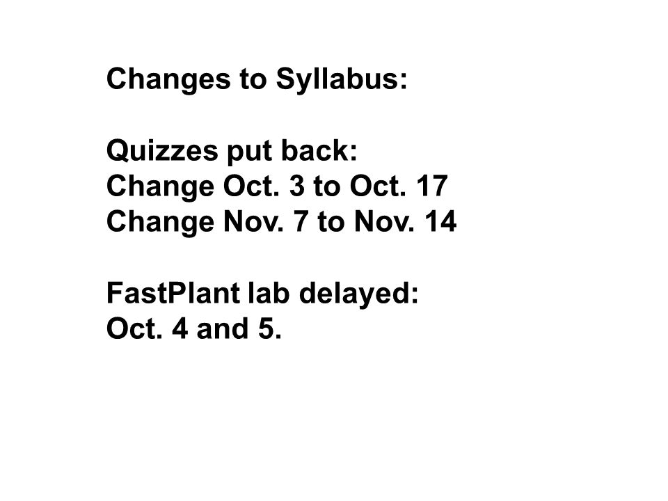Changes to Syllabus: Quizzes put back: Change Oct. 3 to
