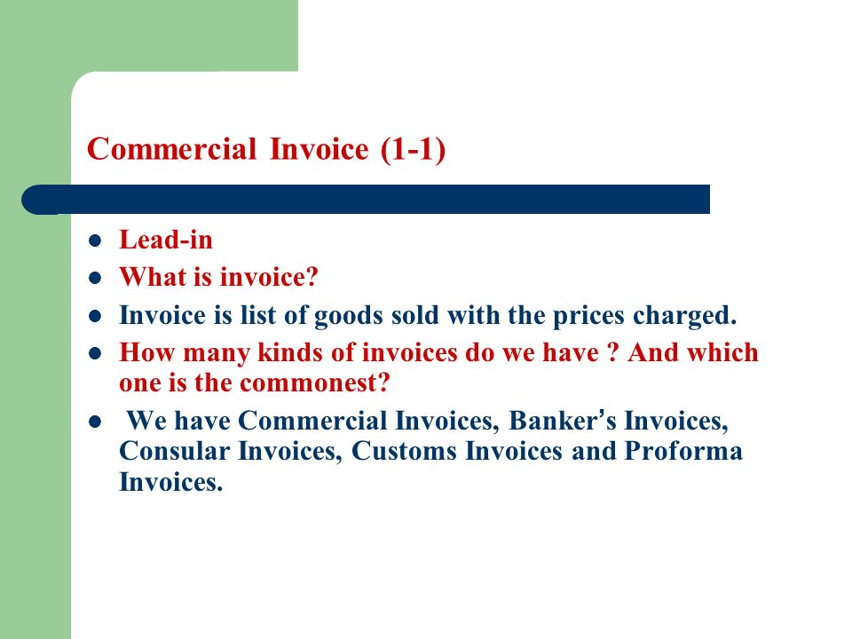 Commercial Invoice Learning objectives Students are required to ...