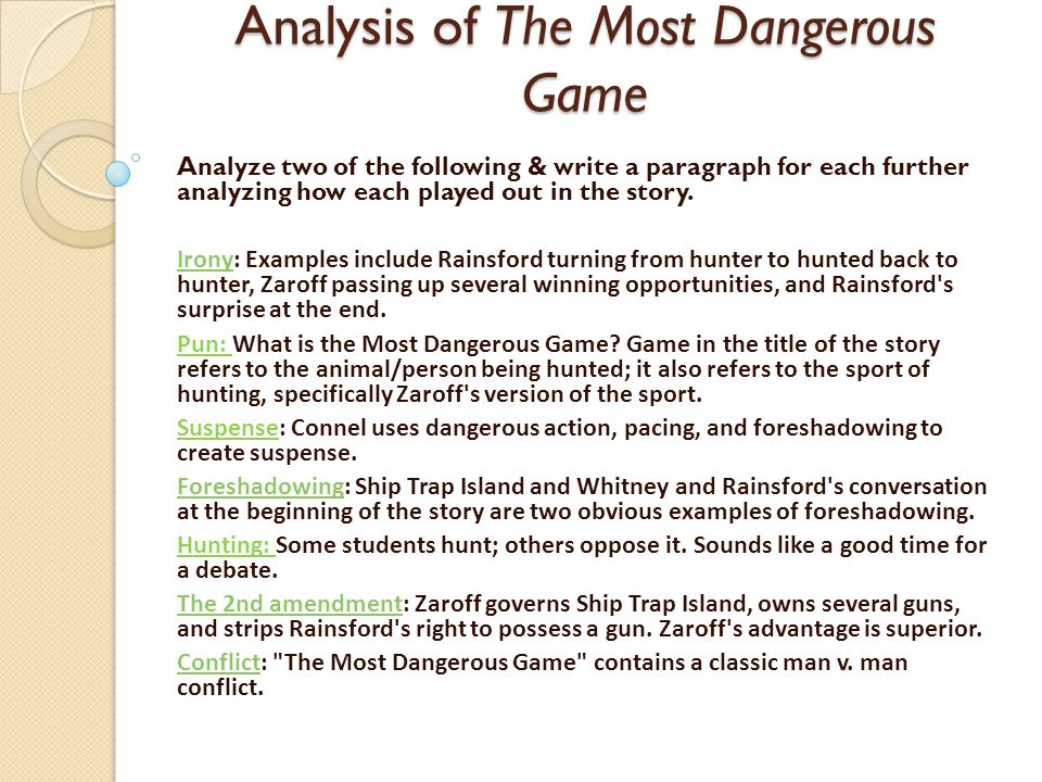 Summary Of The Most Dangerous Game Words Ppt Download