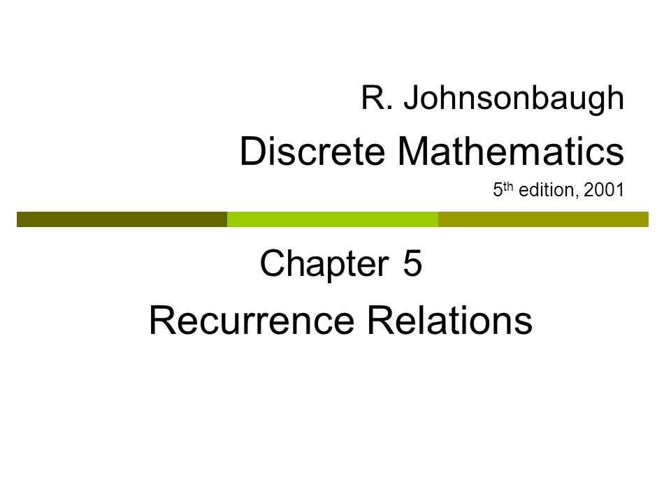 Discrete Mathematics Recurrence Relations Chapter 5 R