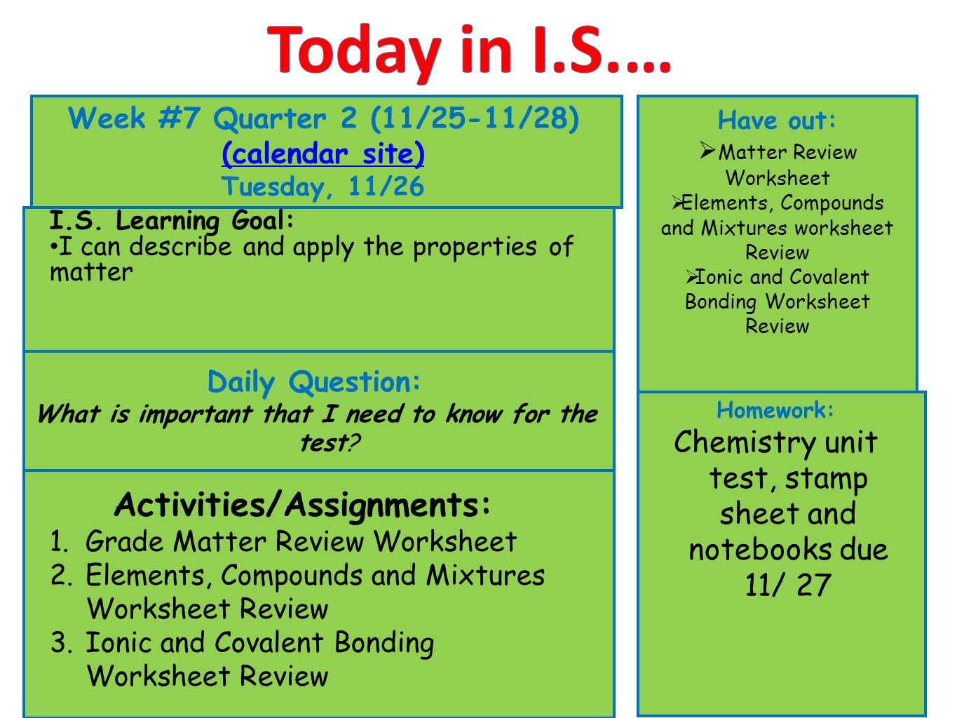 hight resolution of Today in I.S.… Week #7 Quarter 2 (11/25-11/28) (calendar site) - ppt video  online download