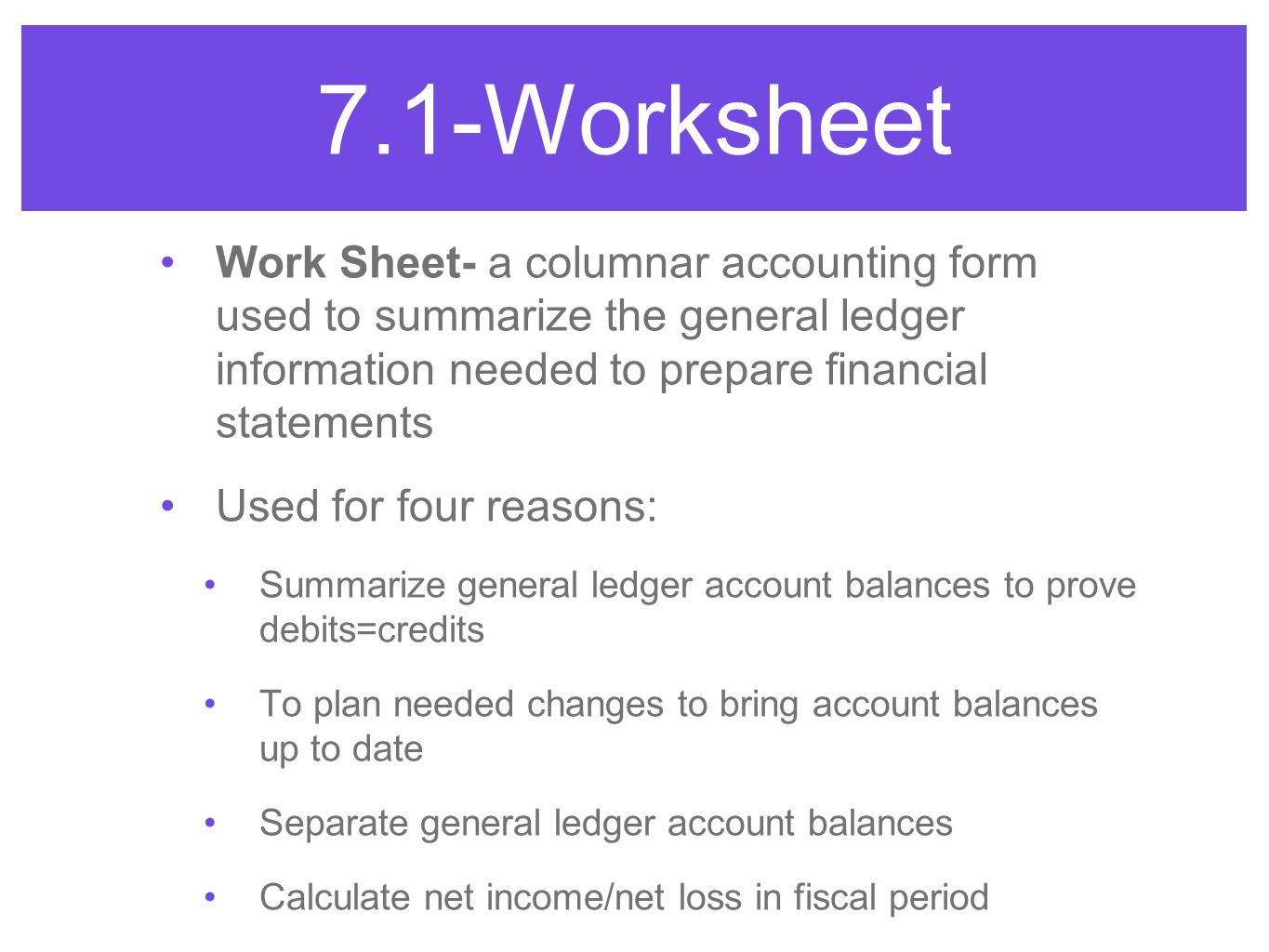Worksheet for a Service Business - ppt video online download