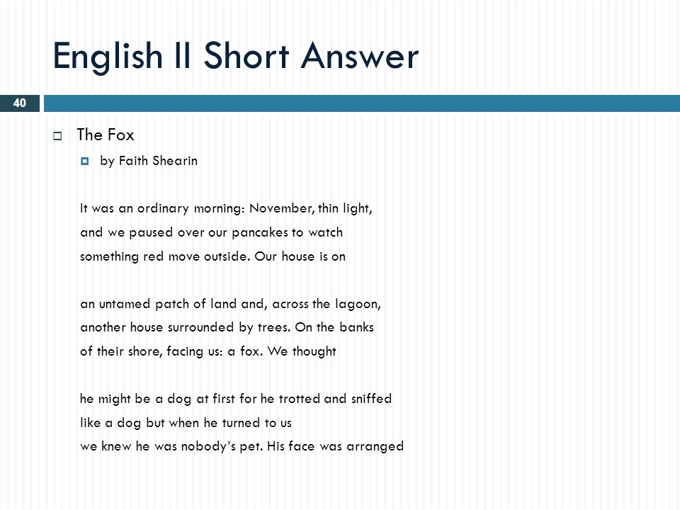 The Fox Poem By Faith Shearin Answer Key