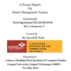 Hostel Management System Er Diagram Start Stop Contactor Wiring A Project Report On Ppt Video Online Download