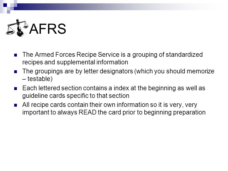 Armed Forces Recipe Service AFRS  ppt video online download