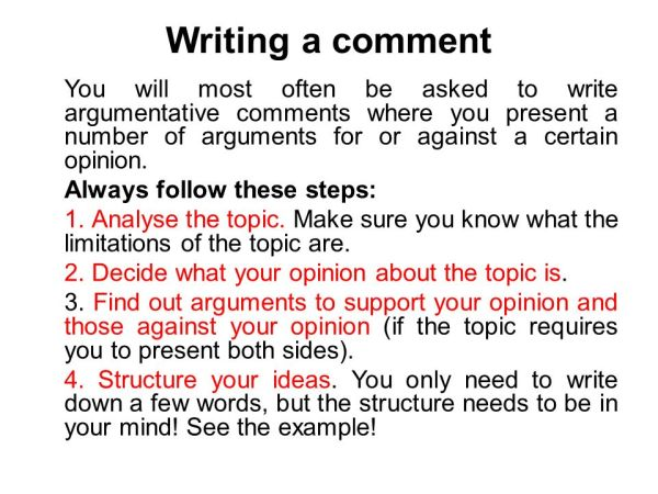 how to write a comment # 3