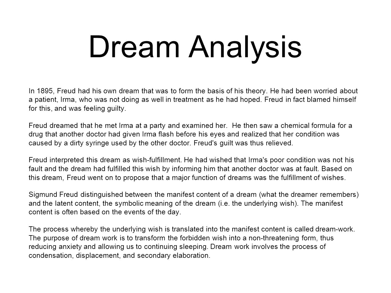hight resolution of dream analysis