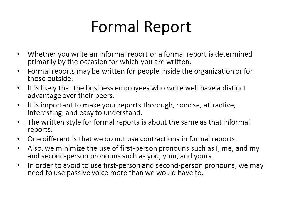 Formal Report  ppt video online download