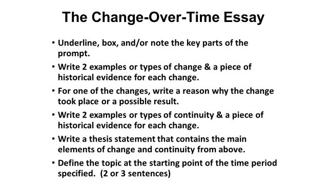 Change Over Time Essay - How to Write a Change-Over-Time Essay