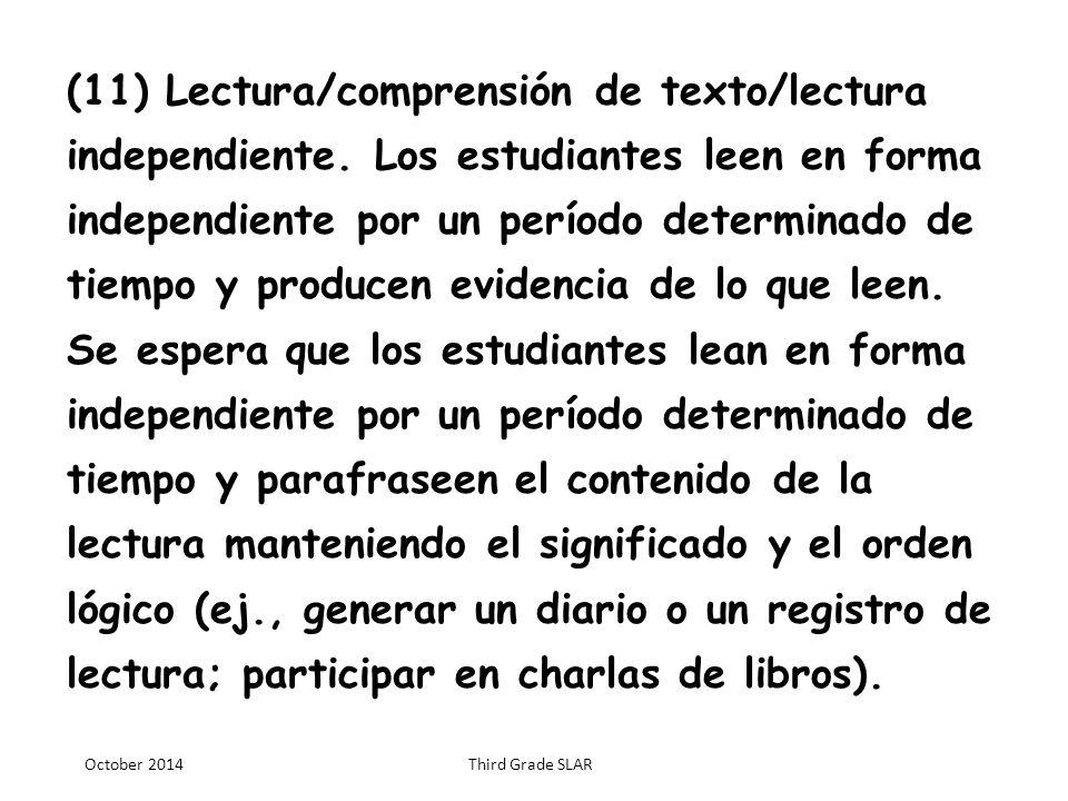 TERCER GRADO § Artes del Lenguaje y Lectura en español
