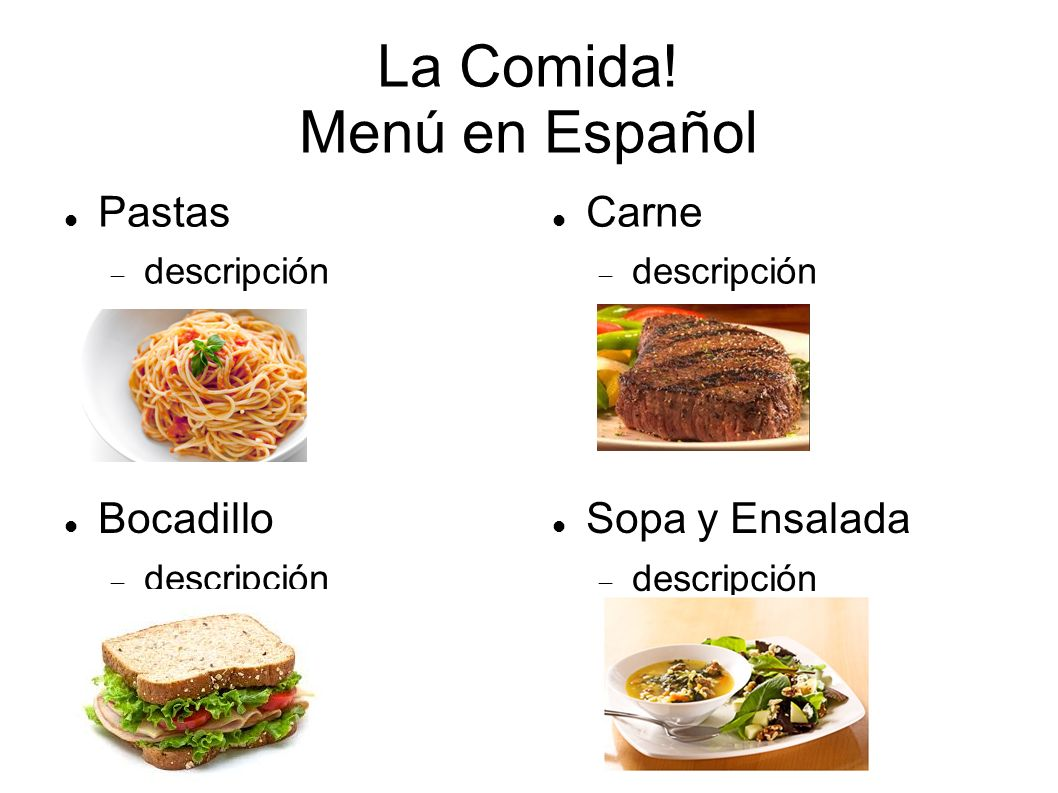 La Comida Menu En Espanol