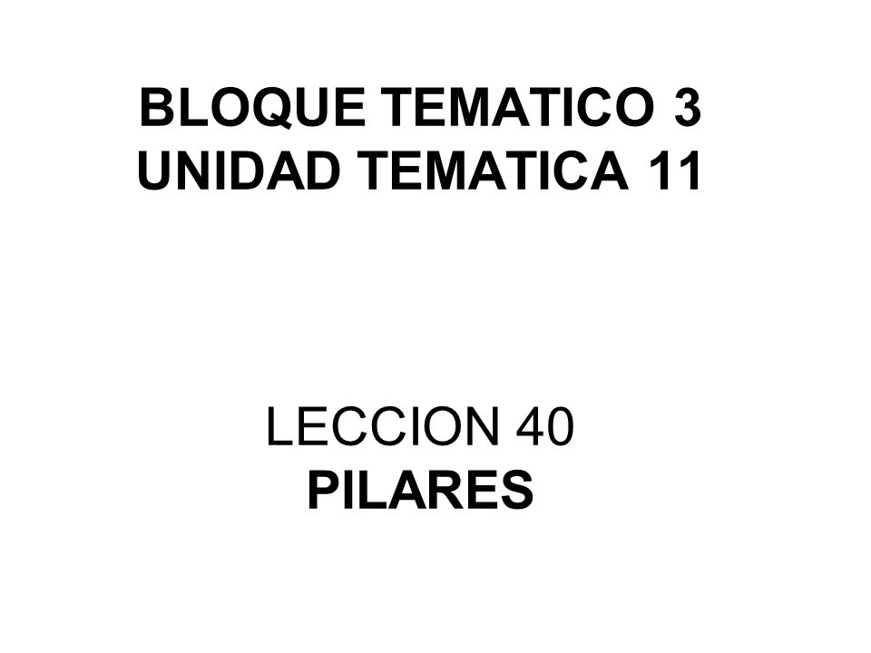 BLOQUE TEMATICO 3 UNIDAD TEMATICA 11 LECCION 40 PILARES