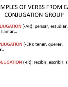 Examples of verbs from each conjugation group also the conjugations in spanish ppt descargar rh slideplayer