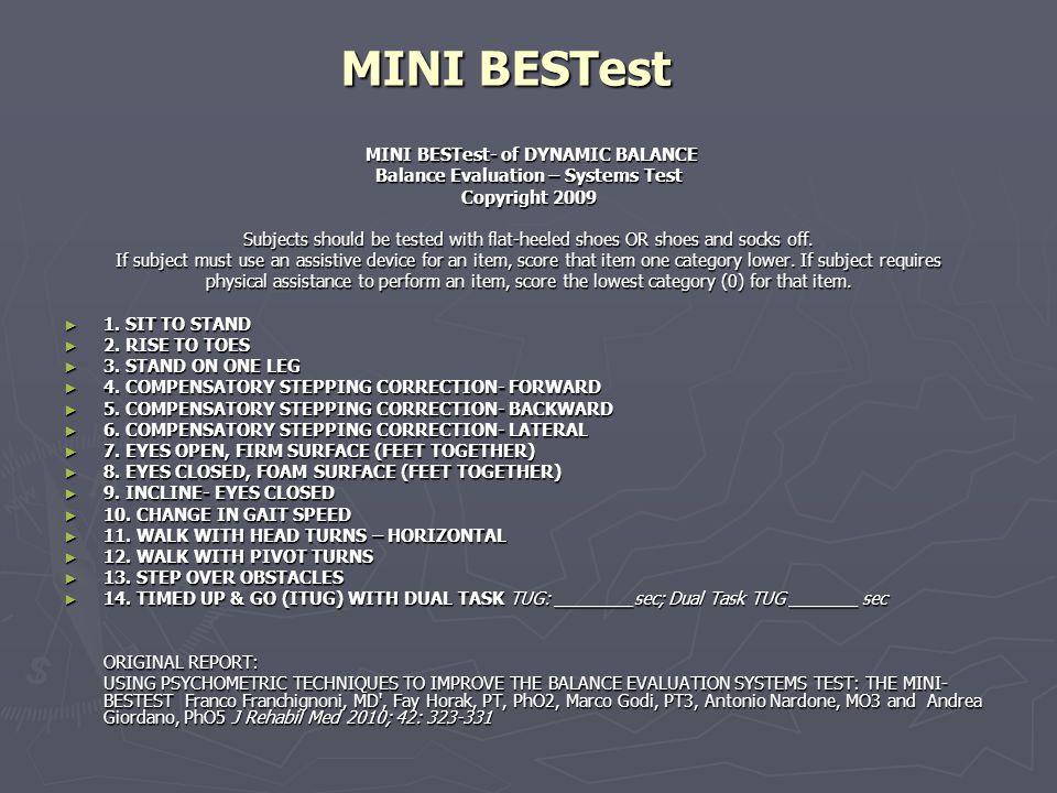 BESTest Balance Evaluation System Test  ppt tlcharger