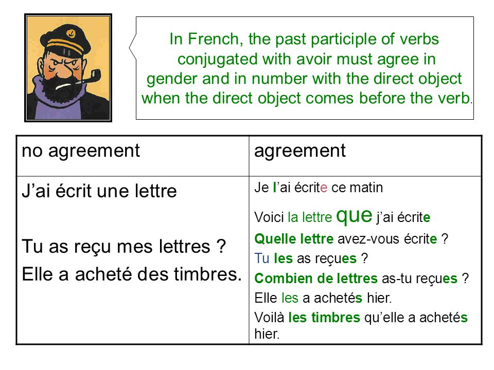 French Direct Object Agreement