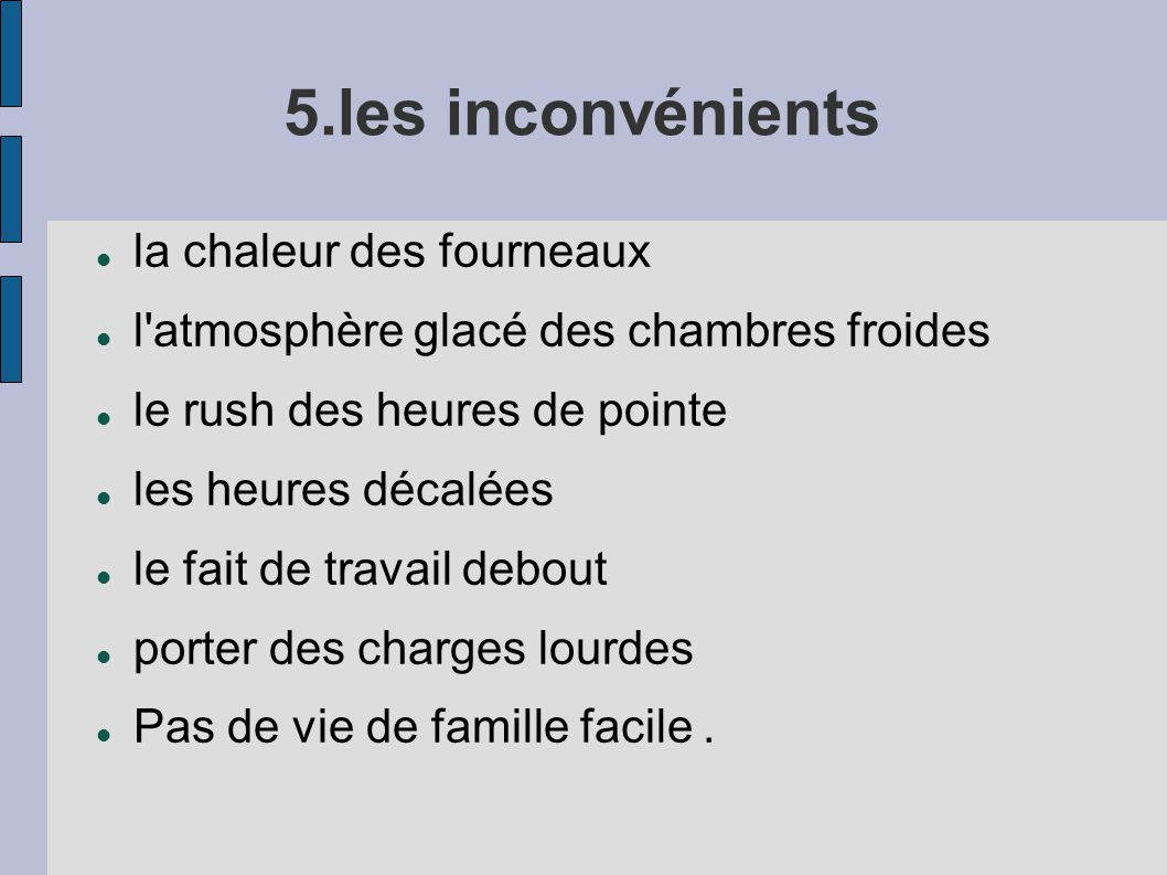 Fiche Mtier Le Cuisinier Ppt Video Online Tlcharger