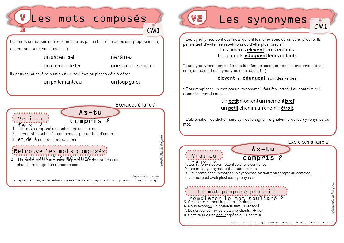 Les mots composs Les synonymes V1 V2 Astu compris  Astu compris   ppt video online tlcharger