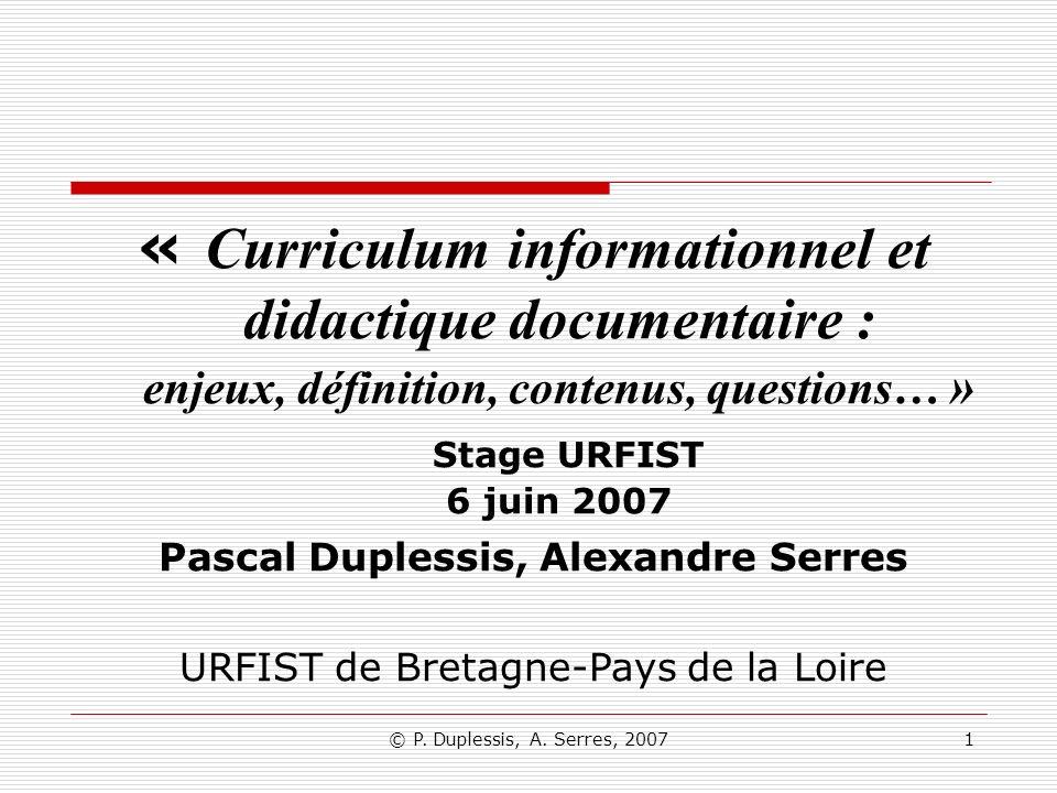 « Curriculum informationnel et didactique documentaire