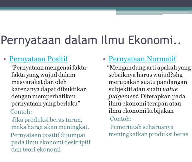 Pernyataan Dalam Ilmu Ekonomi