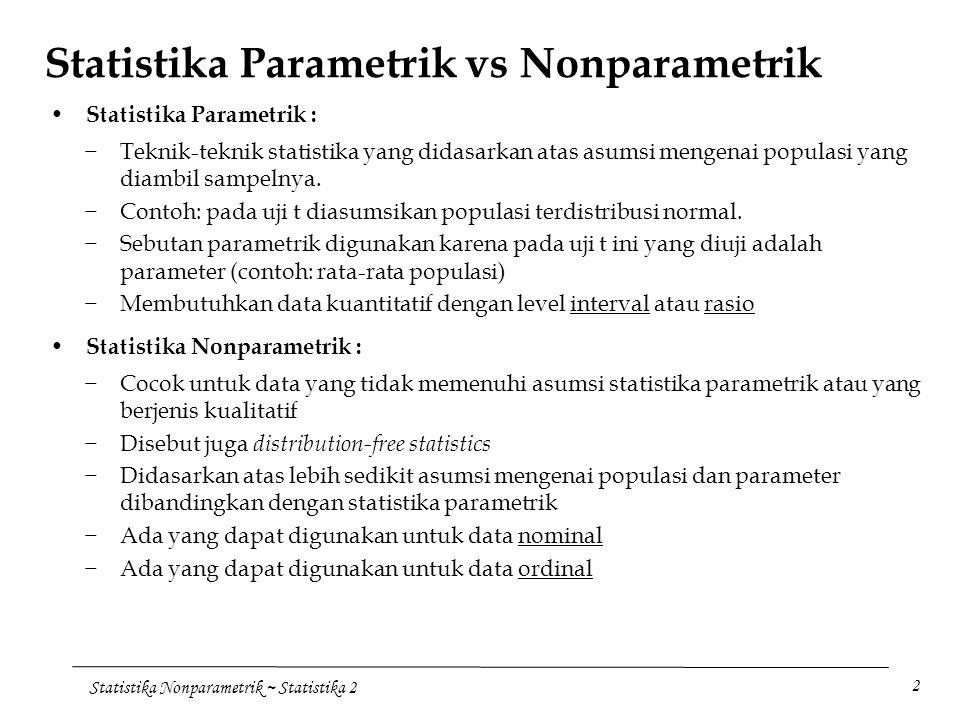 Asumsi bahwa data populasi terdistribusi normal. Statistika Nonparametrik Ppt Download