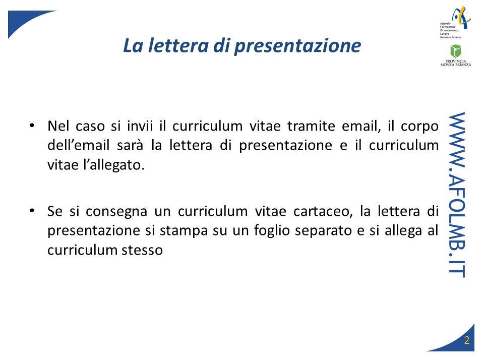 Esempio Lettera Di Autocandidatura Curriculum Vitae E