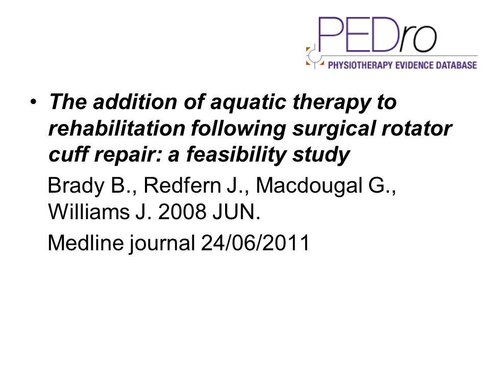 La spalla postchirurgica trattata in acqua: prove di