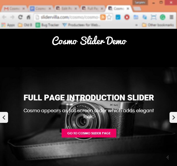 Cosmo Slider Full Screen Mode
