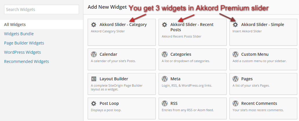 Slider widgets in page builder