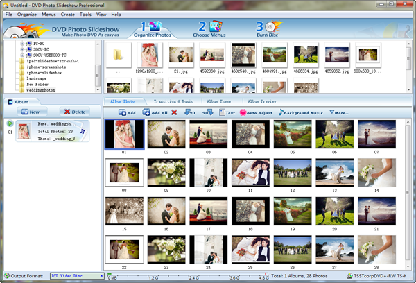 import wedding photos to slideshow software