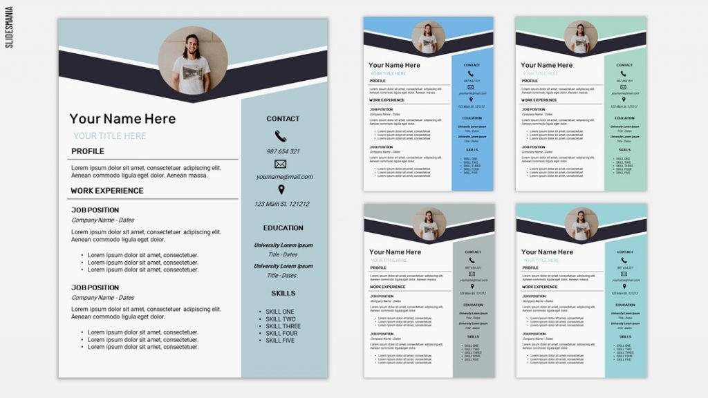 This collection includes impressive curriculum vitae/cv, resume and cover letter templates with professional and modern design available for instant free. Resume Two Free Template For Google Slides Or Powerpoint Slidesmania