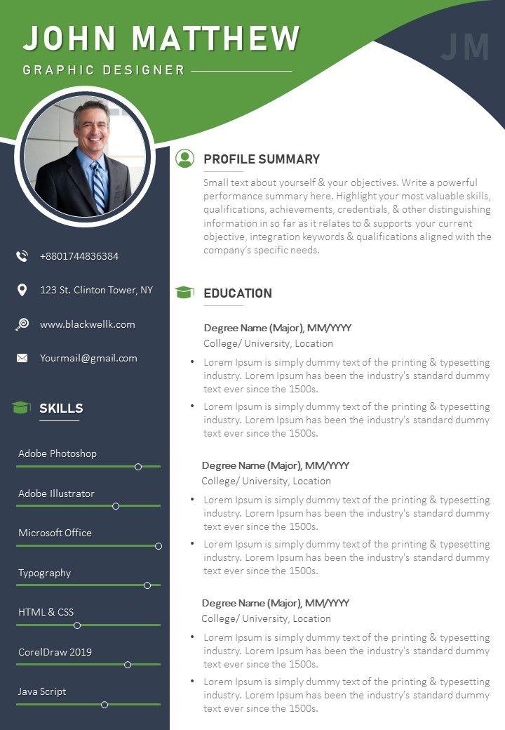 Template Cv Coreldraw : template, coreldraw, Sample, Template, Profile, Summary, Contact, Details, Graphics, Presentation, Background, PowerPoint, Designs, Slide