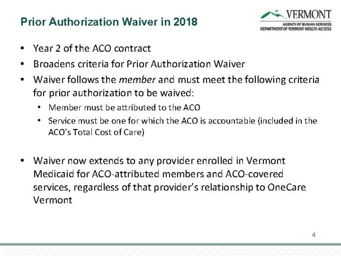 The Prior Authorization Waiver In The Vmng Aco