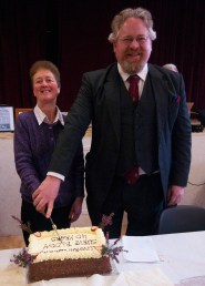 Mary Doyle and Derek Fanning, Honorary President of the Slieve Bloom Association, cut the cake.