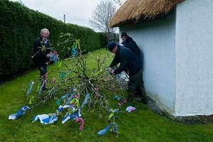 Johnny, Christy & Michael prepare the May Bush - photo Kathleen Culliton