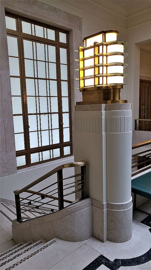 On the first floor, lovely marble and a pretty cool Art Deco lamp