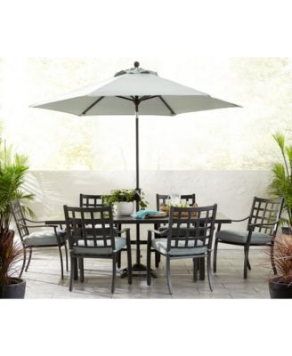 highland outdoor 7 pc dining set 84 x 42 dining table and 6 dining chairs with sunbrella cushions created for macy s