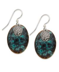 Jody Coyote Patina Bronze Earrings, Teal and Brown Oval ...