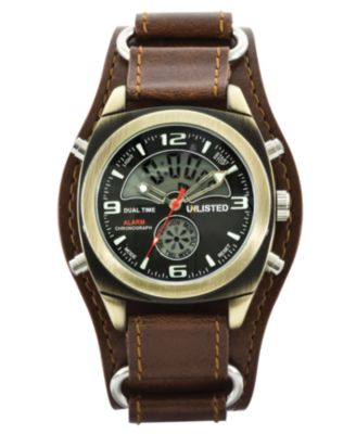 Unlisted Watch, Men's Analog Digital Brown Leather Cuff UL1138