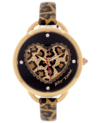 Betsey Johnson Watch Womens Leopard Heart Printed Leather