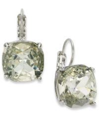 kate spade new york Earrings, Silver-Tone Crystal Square ...