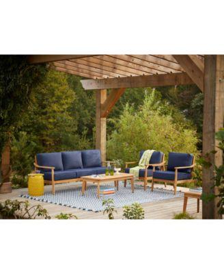savona teak outdoor 4 pc seating set sofa 2 club chairs coffee table with sunbrella cushions