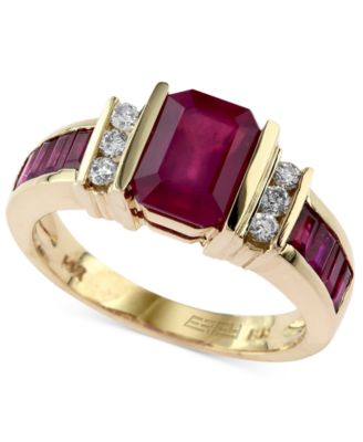 EFFY Ruby 2 14 Ct Tw And Diamond 16 Ct Tw Ring In 14k Gold Rings Jewelry