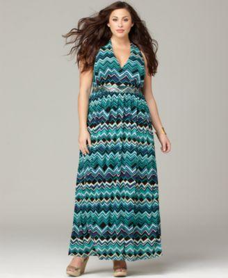 INC International Concepts Plus Size Dress, Sleeveless Printed Empire Maxi