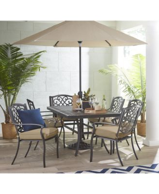 park gate outdoor cast aluminum 7 pc dining set 68 x 38 dining table and 6 dining chairs created for macy s