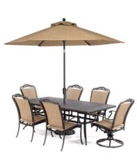 "Beachmont Outdoor 7 Piece Set: 84"" X 42"" Dining Table, 4 ..."